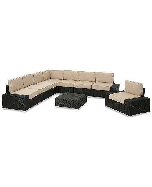 Furniture Puerta Outdoor 9-Pc. Sectional Set, Quick Ship