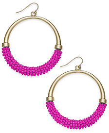 Trina Turk x I.N.C. Gold-Tone Beaded Drop Hoop Earrings, Created for Macy's