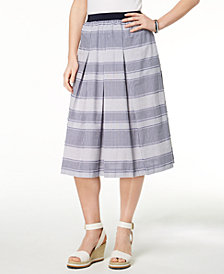 Tommy Hilfiger Cotton Pleated Full Skirt, Created for Macy's