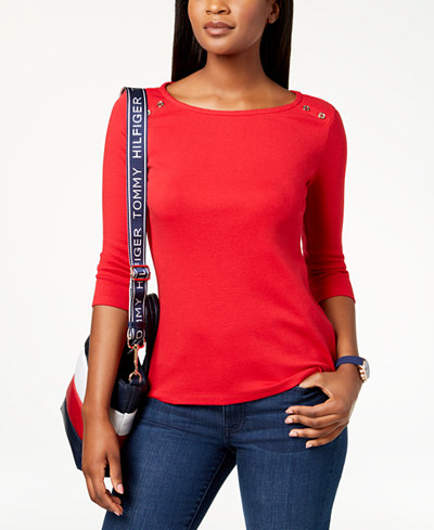 Tommy Hilfiger Cotton Striped Button-Detail Top, Created for Macy's