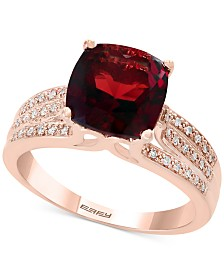 EFFY® Garnet (3-1/4 ct. t.w.) and Diamond (1/5 ct. t.w.) Ring in 14k Rose Gold