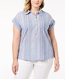 Style & Co Plus Size Cotton Marcella Striped Top Shirt, Created for Macy's