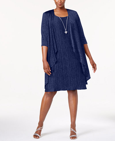 R Amp M Richards Plus Size Pleated Dress And Draped Jacket