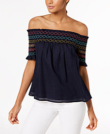 Trina Turk Cotton Smocked Off-The-Shoulder Top