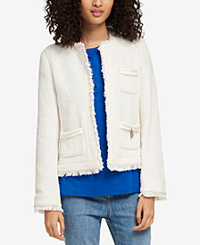 DKNY Cotton Tweed Fringe Jacket, Created for Macy's