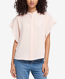 DKNY Mandarin-Collar Flutter-Sleeve Shirt, Created for Macy's