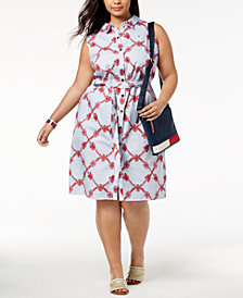 Tommy Hilfiger Plus Size Cotton Striped Printed Shirtdress, Created for Macy's