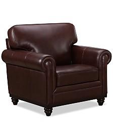 "Martha Stewart Collection Bradyn Leather 40"" Armchair,  Created for Macy's"