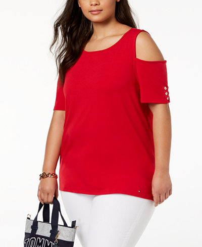 Tommy Hilfiger Plus Size Cold-Shoulder Top, Created for Macy's