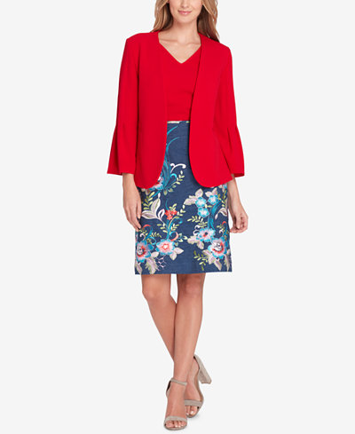 Tahari ASL Pleated Bell-Sleeve Blazer & Embroidered Chambray Pencil Skirt