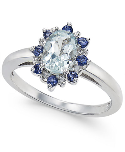 Aquamarine (3/4 ct. t.w.) & Iolite (1/3 ct. t.w.) Ring in 14k White Gold