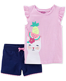 Carter's 2-Pc. Striped Kitty Cotton Top & Cotton Shorts Set, Toddler Girls