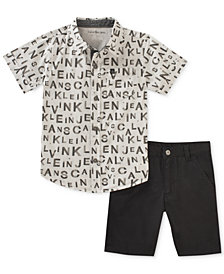 Calvin Klein 2-Pc. Printed Cotton Shirt & Shorts Set, Baby Boys
