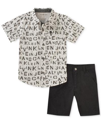 Calvin Klein 2-Pc. Printed Cotton Shirt & Shorts Set, Baby Boys