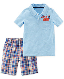 Carter's 2-Pc. Polo & Plaid-Print Shorts Set, Toddler Boys