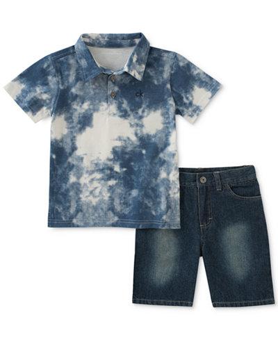 Calvin Klein 2-Pc. Printed Polo & Denim Shorts, Baby Boys
