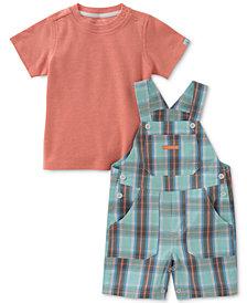 Calvin Klein 2-Pc. T-Shirt & Plaid Overall Set, Baby Boys