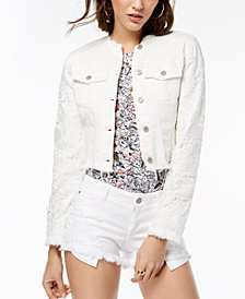 GUESS Frayed Embroidered Denim Jacket