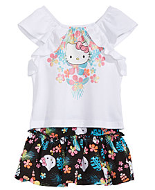 Hello Kitty  Baby Girls 2-Pc. Graphic-Print Top & Floral-Print Skirt Set