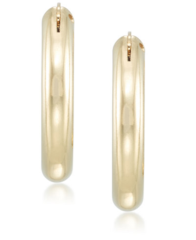Signature Gold™ Diamond Accent Polished Oval Hoop Earrings in 14k Gold over Resin