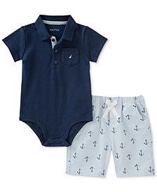 Nautica 2-Pc. Polo Bodysuit & Printed Shorts Set, Baby Boys