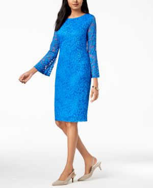 Alfani Petite Lace Bell-Sleeve Dress, Created for Macy's 6711231