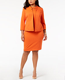 Kasper Plus Size Textured Flyaway Blazer & Cutout Sheath Dress