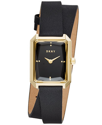 Women's Cityspire Black Leather Wrap Strap Watch 21x27mm, Created For Macy's by Dkny