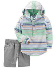 Carter's 2-Pc. Striped Hooded Cotton Shirt & Shorts Set, Baby Boys