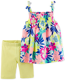 Carter's Baby Girls 2-Pc. Floral-Print Tunic & Shorts Set