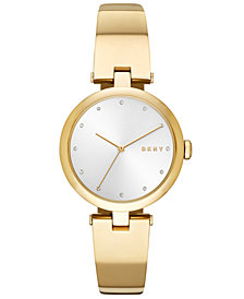 DKNY Women's Eastside Gold-Tone Stainless Steel Bangle Bracelet Watch 34mm, Created for Macy's