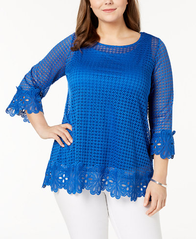 Alfani Plus Size Lace-Trim Tunic, Created for Macy's