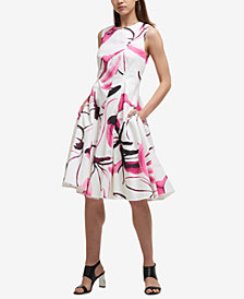DKNY Cotton Printed Fit & Flare Dress, Created for Macy's