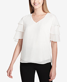 Calvin Klein Tiered Ruffle-Sleeve Top
