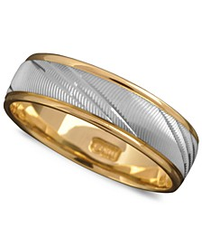Men's 14k Gold and 14k White Gold 6mm Ring, Flash Band (Size 6-13)