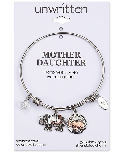 5fe6e78b3cd ... Unwritten Double Elephant Crystal Charms Adjustable Bangle Bracelet in  Two-Tone Stainless Steel ...