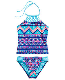 Breaking Waves 2-Pc. Macrame-Neck Printed Tankini, Little & Big Girls