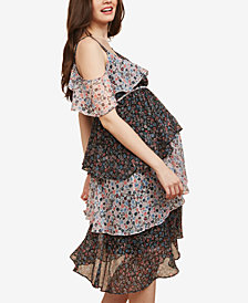 Motherhood Maternity Floral-Print Tiered Dress