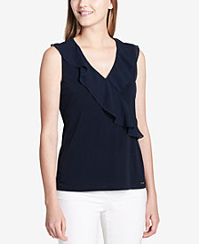 Calvin Klein Ruffled Surplice Top