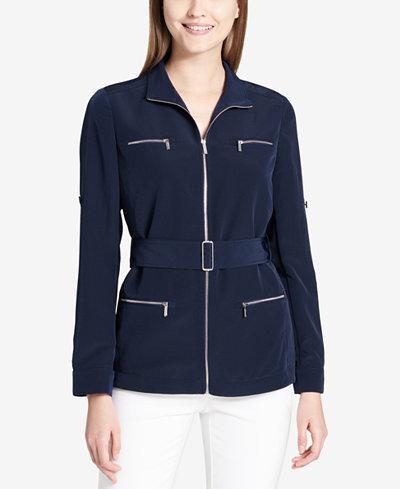 Calvin Klein Belted Zip-Pocket Blouse