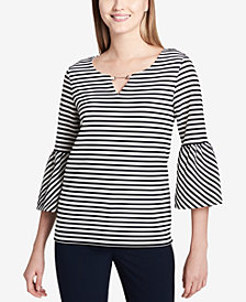 Calvin Klein Striped Embellished Bell-Sleeve Top