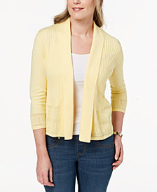 Karen Scott Petite Open Pointelle-Knit Cardigan, Created for Macy's