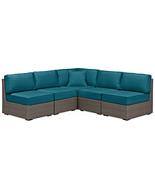 South Harbor Outdoor 5-Pc. Outdoor Modular Seating Set (1 Corner Unit & 4 Armless Units), with Custom Sunbrella® Colors, Created for Macy's