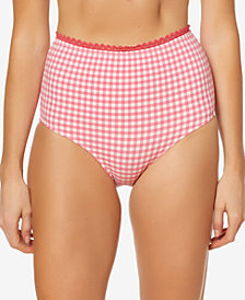 Jessica Simpson Printed High-Waist Bikini Bottoms