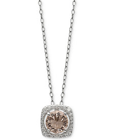 "Giani Bernini Cubic Zirconia Halo 18"" Pendant Necklace in Sterling Silver, Created for Macy's"