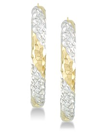 Diamond Accent Patterned Hoop Earrings in 14k Gold & 14k White Gold over Resin