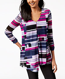 Alfani Petite Printed Asymmetrical-Hem Top, Created for Macy's