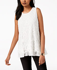 Alfani Petite Mesh-Lace Fringe Top, Created for Macy's