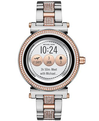 Michael Kors Access Women S Sofie Two Tone Pave Stainless Steel
