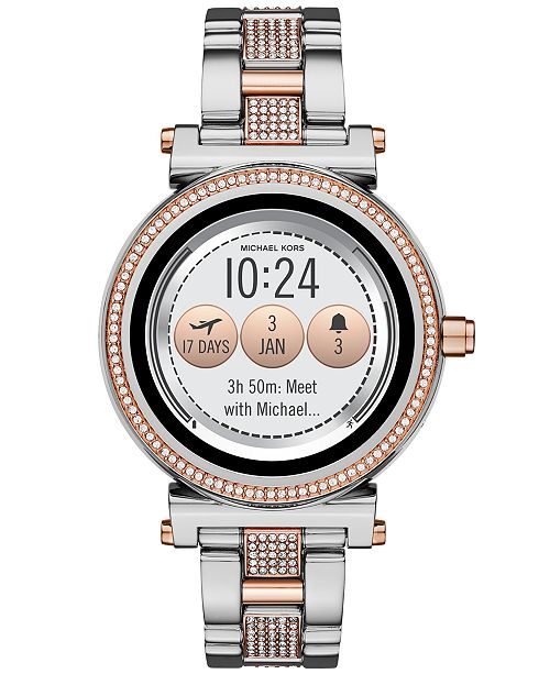 0c419a936d5b6 ... Michael Kors Access Women s Sofie Two-Tone   Pav eacute  Stainless  Steel Bracelet Touchscreen ...